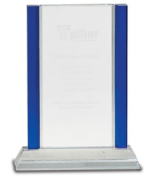 """Crystal Blue Edge Rectangle on a Crystal Base with Sandblasted Engraving 8.5"""" Tall"""