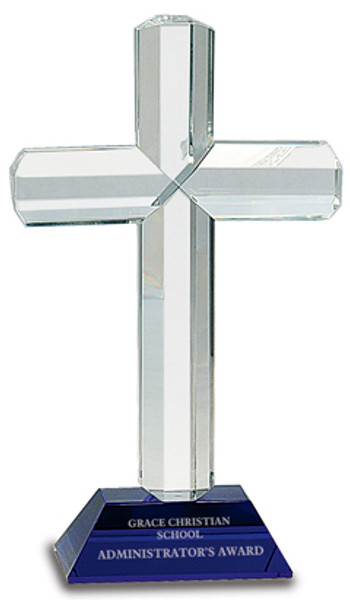 """Crystal Cross with Blue Pedestal Base 9"""" Tall"""