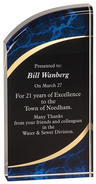 "Blue Marble Self-Standing Acrylic Award 7"" Tall"