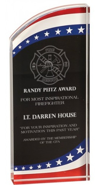 "Stars & Stripes Self-Standing Acrylic Award 7"" Tall"