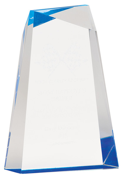 "Blue Acrylic Facet Wedge 8"" Tall"