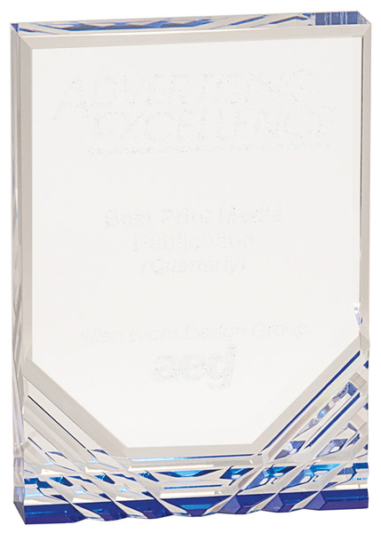 "Blue Jewel Mirage Acrylic Award 7"" Tall"