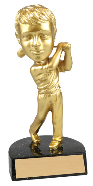 "Golf Male Bobble Head Bright Gold Resin 6"" Tall"