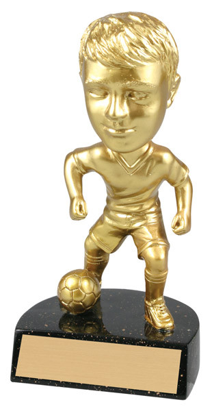 "Soccer Male Bobble Head Bright Gold Resin 6"" Tall"