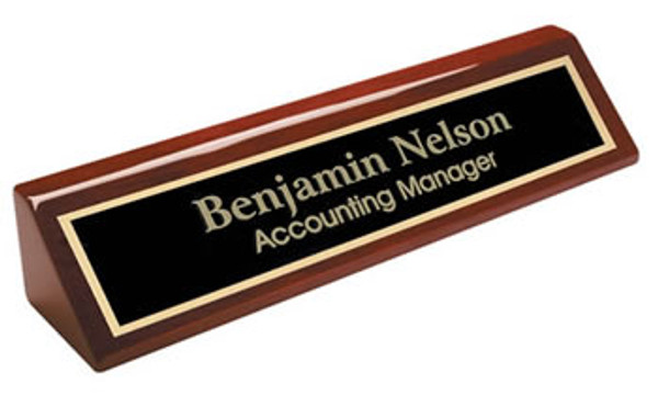 "Rosewood Piano Finish Desk Wedge Nameplate 10"" Wide"