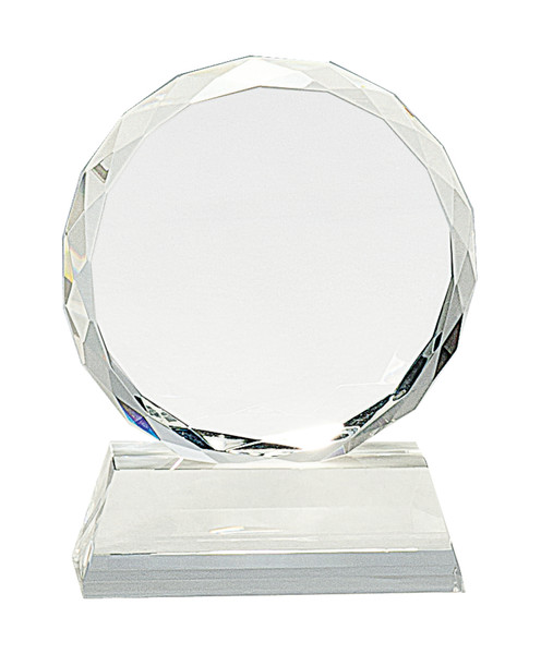 Premier Round Facet Crystal on Clear Pedestal Base 5""