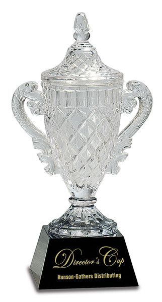 """Clear Crystal Cup on Black Pedestal Base 12.5"""" Tall"""