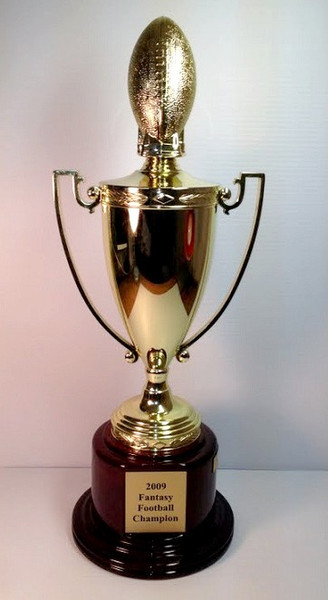 "Fantasy Football: Metal Gold Cup with Plastic Football Mounted on Round Rosewood Base 20"" Tall"