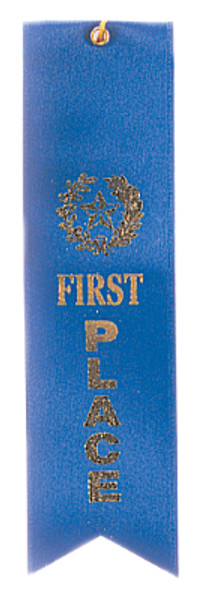 1st Place Blue Carded Ribbon with String 2 X 8