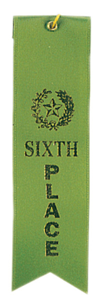 6th Place Green Carded Ribbon with String 2 X 8