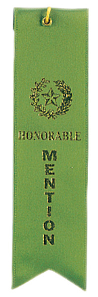 Honorable Mention Green Carded Ribbon with String 2 X 8