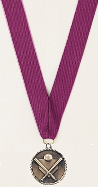 Medal with Purple Ribbon with No Engraving