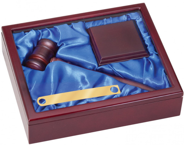 """10"""" Deluxe Gavel Set in Rosewood Finish with Square Sounding Block"""