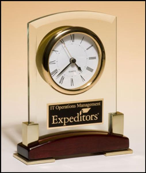 Beveled Glass Desktop Clock with Rosewood Piano-Finish Base