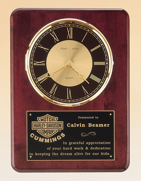 Rosewood Piano-Finish Clock with Solid Brass Diamond-Spun Bezel and Glass Lens