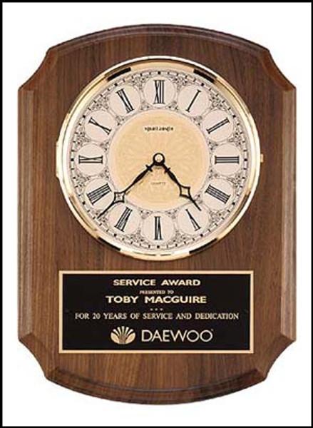 Solid Brass Diamond-Spun Bezel Clock with Glass Lens on Walnut Wall Plaque