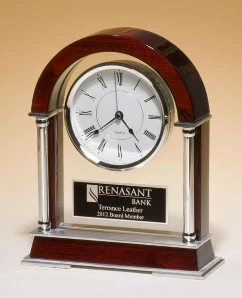 Rosewood Piano-Finish Mantle Clock with Chrome Plated Posts and Silver Aluminum Accents