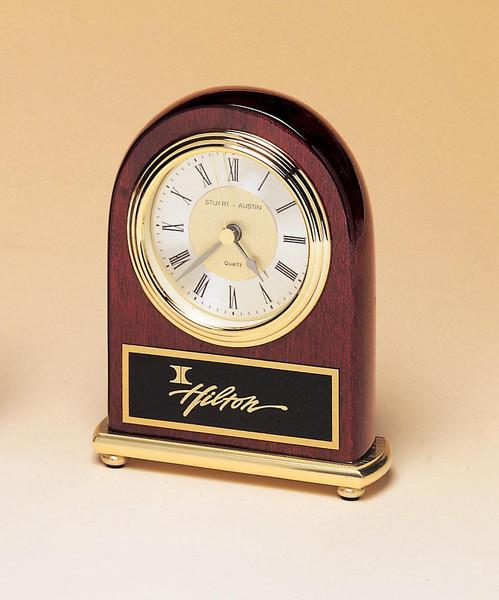 Rosewood Piano-Finish Brass Base Clock with Diamond-Spun Dial