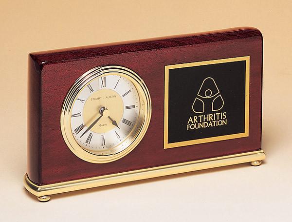 Rectangle Rosewood Piano-Finish Brass Base Clock with Diamond-Spun Dial