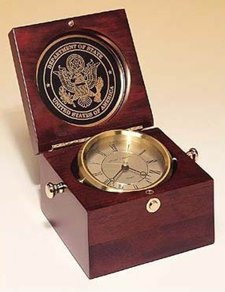 Captain's Clock Hand Rubbed Mahogany-Finish Case