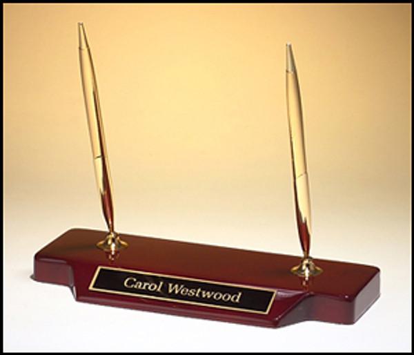 Double Pen Set on Piano-Finish Rosewood Base