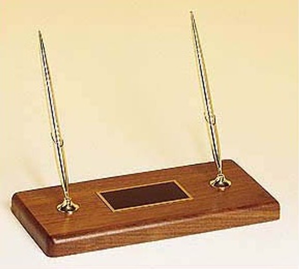 "Goldtone Ball Point Pens on Solid Walnut Base 10"" Long"