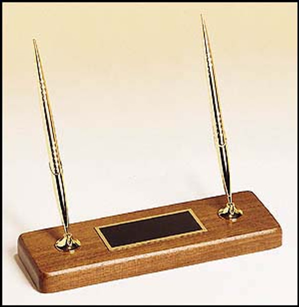 """Goldtone Ball Point Pens on Solid Walnut Base 9"""" Long"""