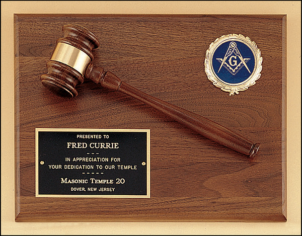 Walnut Plaque with Gavel Attached & Company Logo