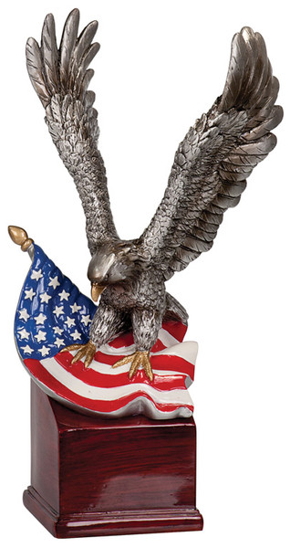 """American Eagle with Flag Hand Painted Resin 10"""" Tall"""