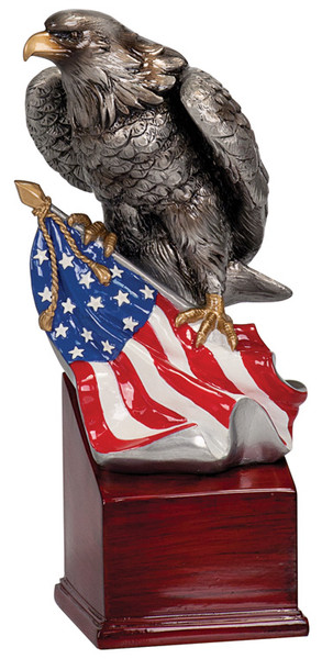 """American Eagle with Flag Hand Painted Resin 8.75"""" Tall"""