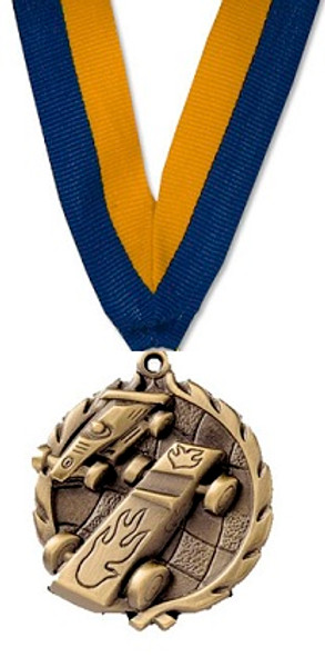 Pinewood Derby Medal with Blue/Gold Ribbon