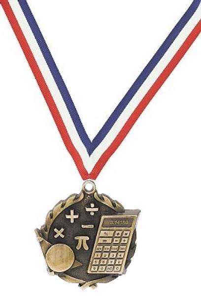 Math Medal with Red, White & Blue Ribbon