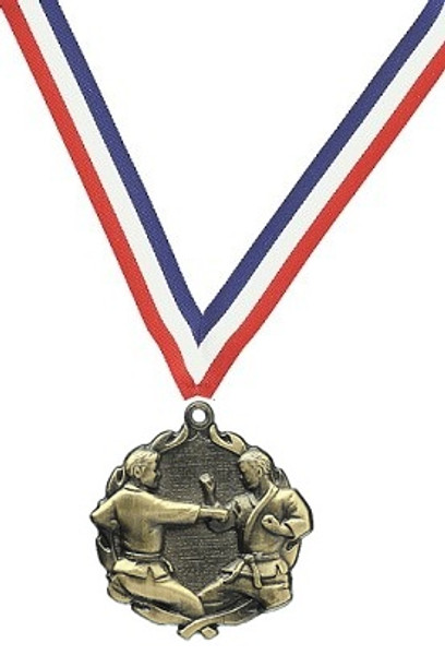 Karate Medal with Red, White & Blue Ribbon
