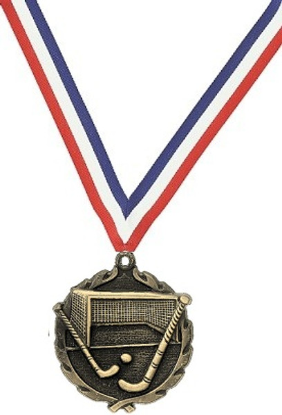 Field Hockey Medal with Red, White & Blue Ribbon