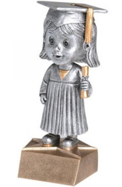 "Female Graduate Bobble Head Resin 6"" Tall"