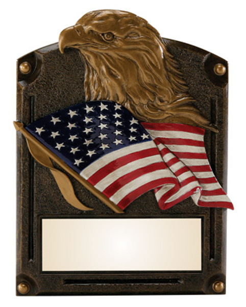 "Patriotic Eagle Legends of Fame Standing Resin Award 8"" Tall"