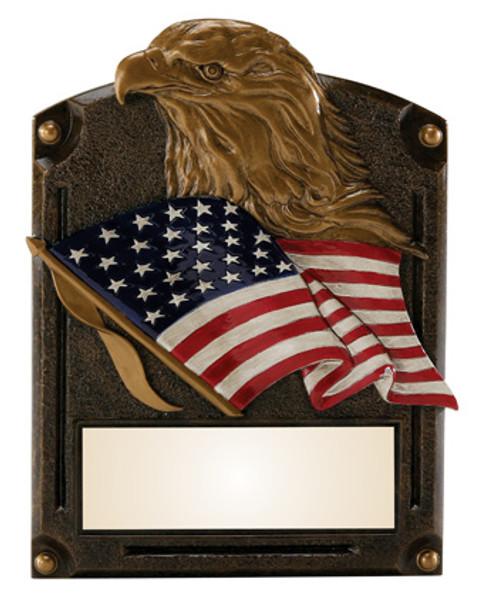 "Patriotic Eagle Legends of Fame Standing Resin Award 8"" Tall"