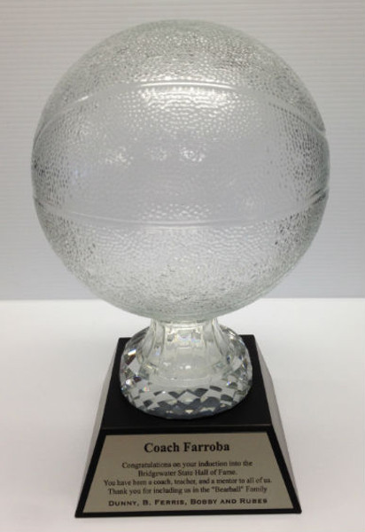 "Glass Basketball with Black Marble Base 13"" Tall"