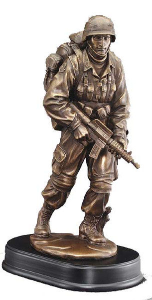 "Military Soldier Standing with Rifle Resin Sculpture 13"" Tall"
