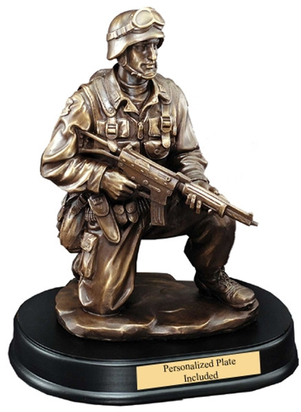 """Military Soldier Kneeling With Rifle Down Resin Sculpture 10"""" Tall"""