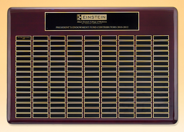 "22"" x 30"" (120 Plate) Rosewood Piano Finish Roster Series Perpetual Plaque"