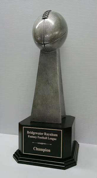 "Fantasy Football Championship Series Football Trophy on Black Wood Base 18"" Tall"