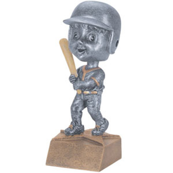 "Baseball Male Bobble Head Resin 6"" Tall"