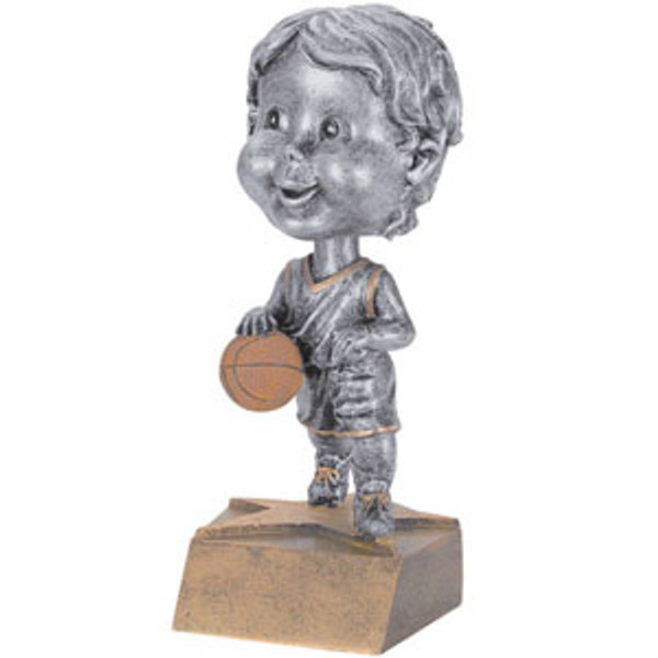 "Basketball Male Bobble Head Resin 6"" Tall"