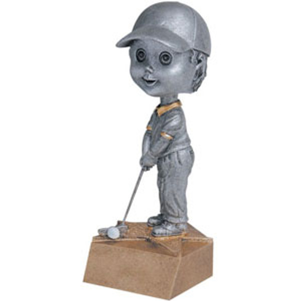 "Golf Male Bobble Head Resin 6"" Tall"