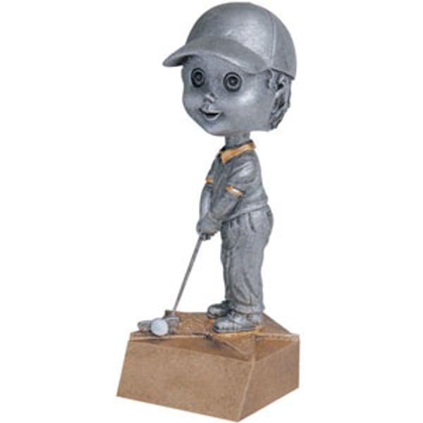 "Golf Male Bobble Head Resin 6"" Tall"