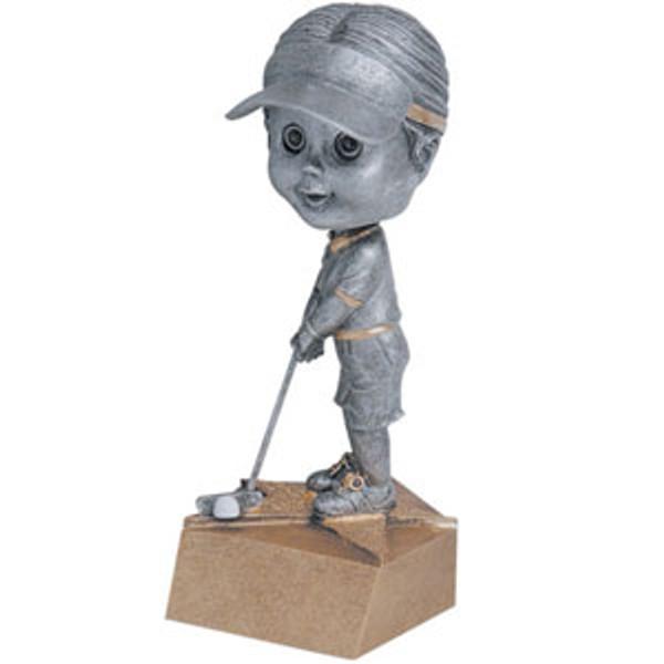 "Golf Female Bobble Head Resin 6"" Tall"