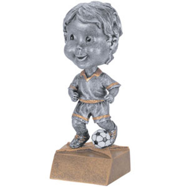 "Soccer Male Bobble Head Resin 6"" Tall"