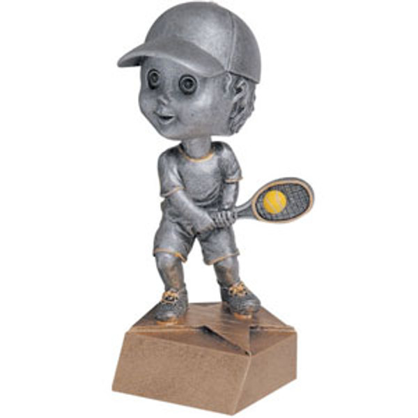 "Tennis Male Bobble Head Resin 6"" Tall"