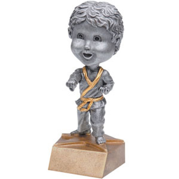 "Karate Male Bobble Head Resin 6"" Tall"